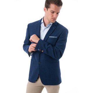 Men's Navy Blue Wool/Polyester Textured Classic-fit Blazer