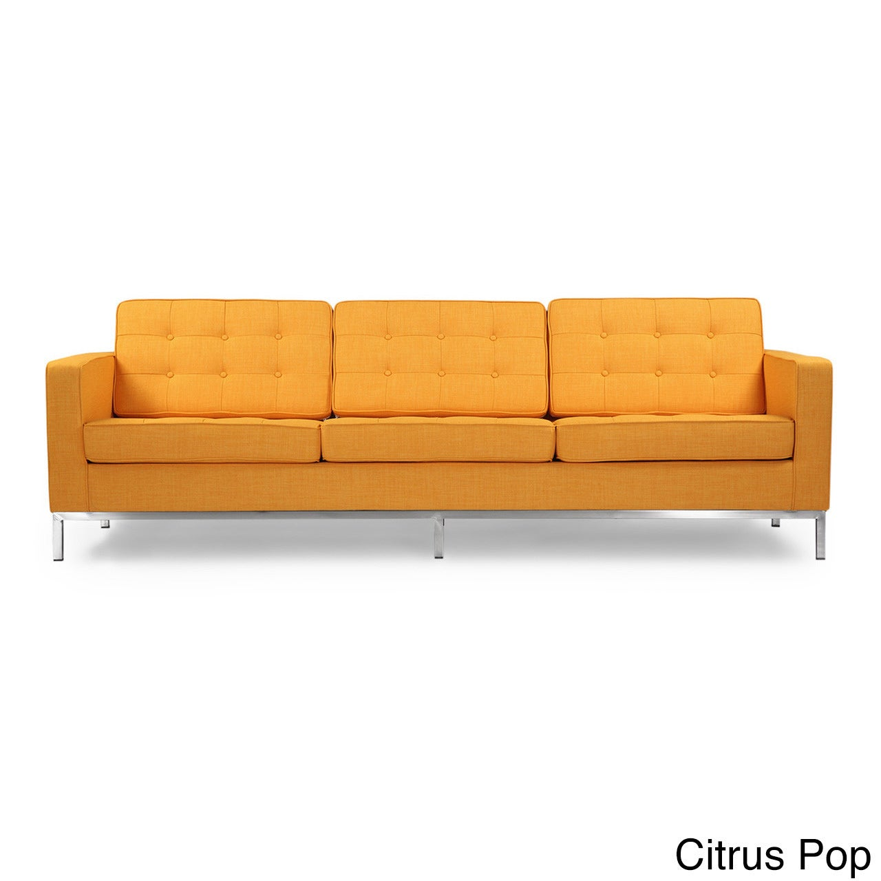 Karl Florence Knoll Style Sofa 3 Seat Premium Fabric Citrus Pop Vintage