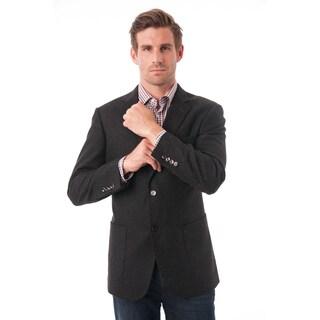Men's Black Wool-blend Textured Blazer