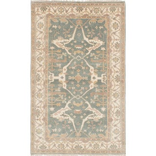 eCarpetGallery Royal Ushak Blue Wool Hand-knotted Rug (4'11 x 8'1)