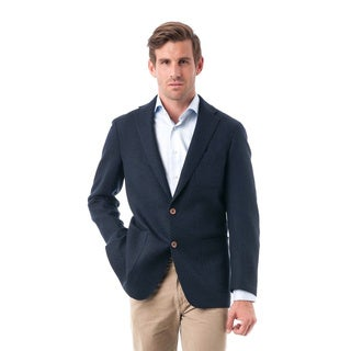 Men's Dark Navy Woolen Classic Fit Quilted Textured Blazer