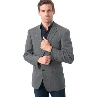 Men's Black and White Wool/Polyester/Viscose/Spandex Birdseye Textured Blazer