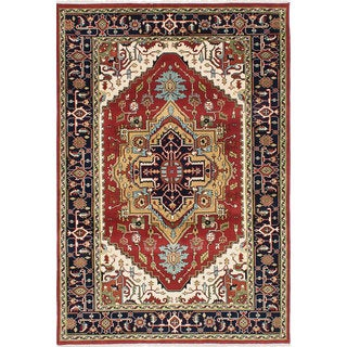 eCarpetGallery Hand-knotted Serapi Heritage Red/Cream/Gold/Blue/Green Wool Rug (5'10 x 8'9)