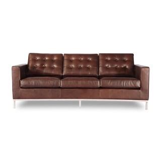 Kardiel Florence Knoll-Style Vintage Premium Distressed Leather 3-Seat Sofa