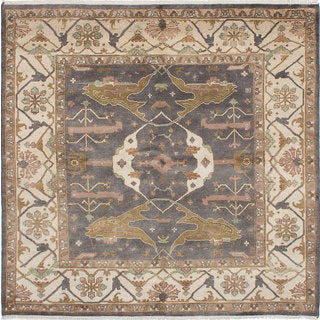 eCarpetGallery Royal Ushak Grey Wool/Cotton Hand-knotted Rug (7'11 x 8'1)
