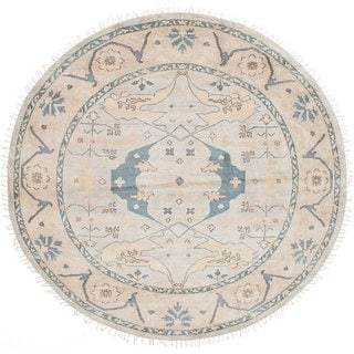 eCarpetGallery Royal Ushak Grey Wool/Cotton Hand-knotted Round Rug (8'0 x 8'0)