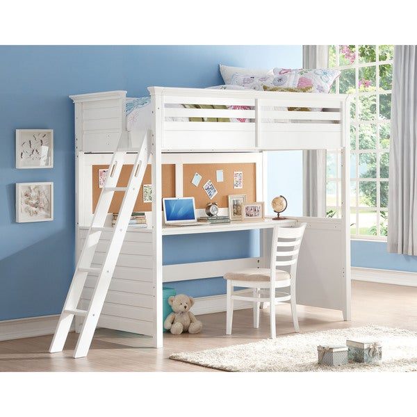 White Lacey Twin Loft Bed With Desk And Cork Board Free