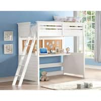 White Lacey Twin Loft Bed with Desk and Cork Board