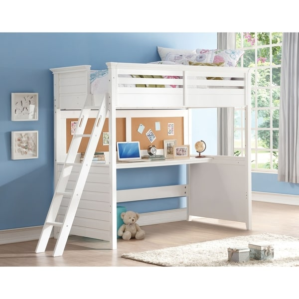 Twin Loft Bed.White Lacey Twin Loft Bed With Desk And Cork Board