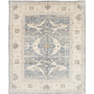 eCarpetGallery Royal Ushak Blue Wool Hand-knotted Rug (8'0 x 9'10)