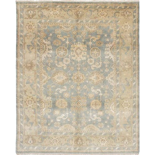 eCarpetGallery Royal Ushak Blue Wool/Cotton Hand-knotted Rug (8'1 x 9'11)