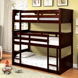 Furniture of America Rigson Plank Style Space-Saving Espresso 3-Tier Twin Bunk Bed