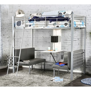 Furniture of America Kari Contemporary Silver Loft Bed with Workstation