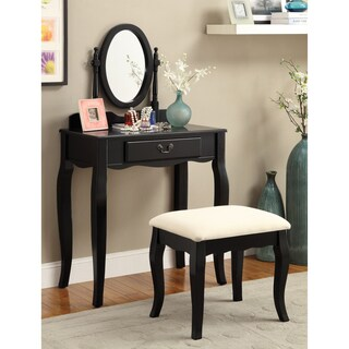 Furniture of America Carina 2-Piece Classic 1-drawer Vanity Table and Stool Set (Option: Black)