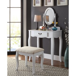 Furniture of America Carina 2-Piece Classic 1-drawer Vanity Table and Stool Set