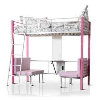 Furniture of America Kari Contemporary Pink/White Loft Bed with Workstation