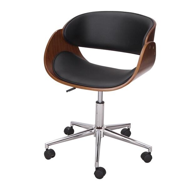 Adeco Bentwood Black Chrome Faux Leather Mid Back Adjustable Home Desk Swivel
