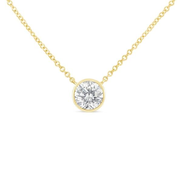Solitaire 1//10 Ct Diamond Pendant Necklace 10K White Gold