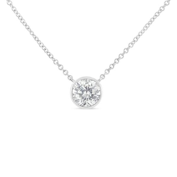 10K Gold 0.1ct. TDW Bezel-Set Diamond Solitaire Pendant Necklace(H-I,SI2-I1)
