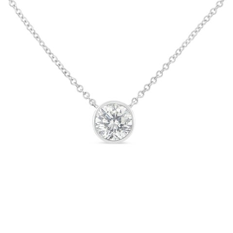 10K Gold 0.1ct. TDW Bezel-Set Diamond Solitaire Pendant Necklace(H-I,SI2-I1)