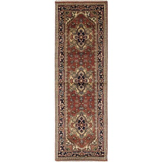 eCarpetGallery Blue/Brown Wool Hand-knotted Serapi Heritage Rug (2'7 x 8'0)
