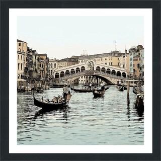 "Alan Blaustein ""Ponte Rialto con Gondolas"" Framed Plexiglass Wall Décor"