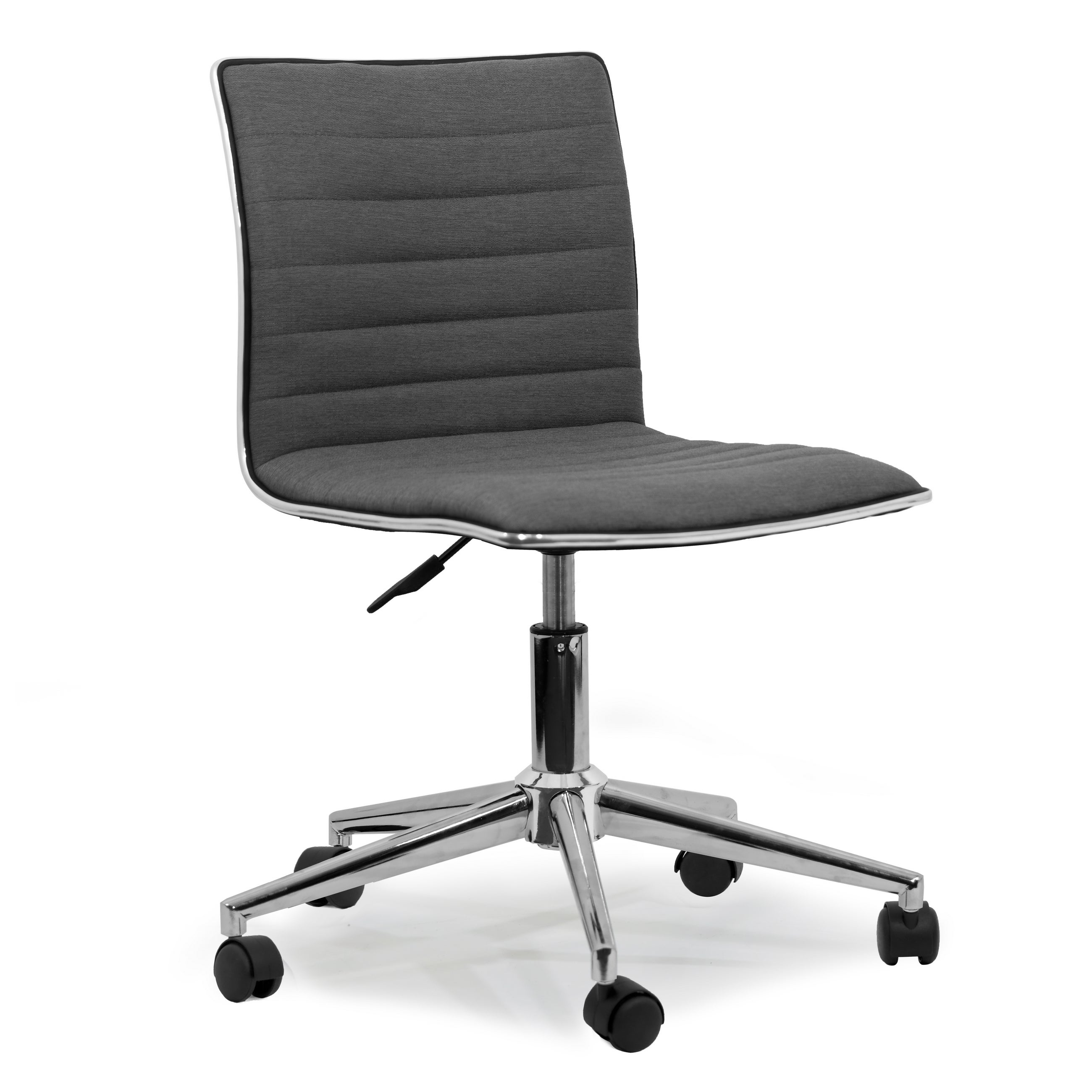 Chair With Wheels >> Aiko Grey Fabric Chrome Metal Swivel Office Chair With Wheels