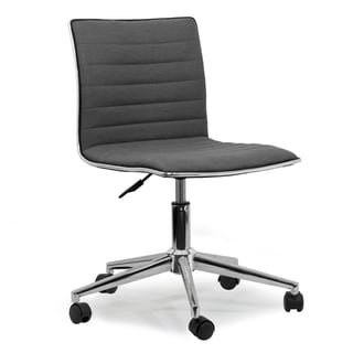 Aiko Grey Fabric/Chrome Metal Swivel Office Chair with Wheels