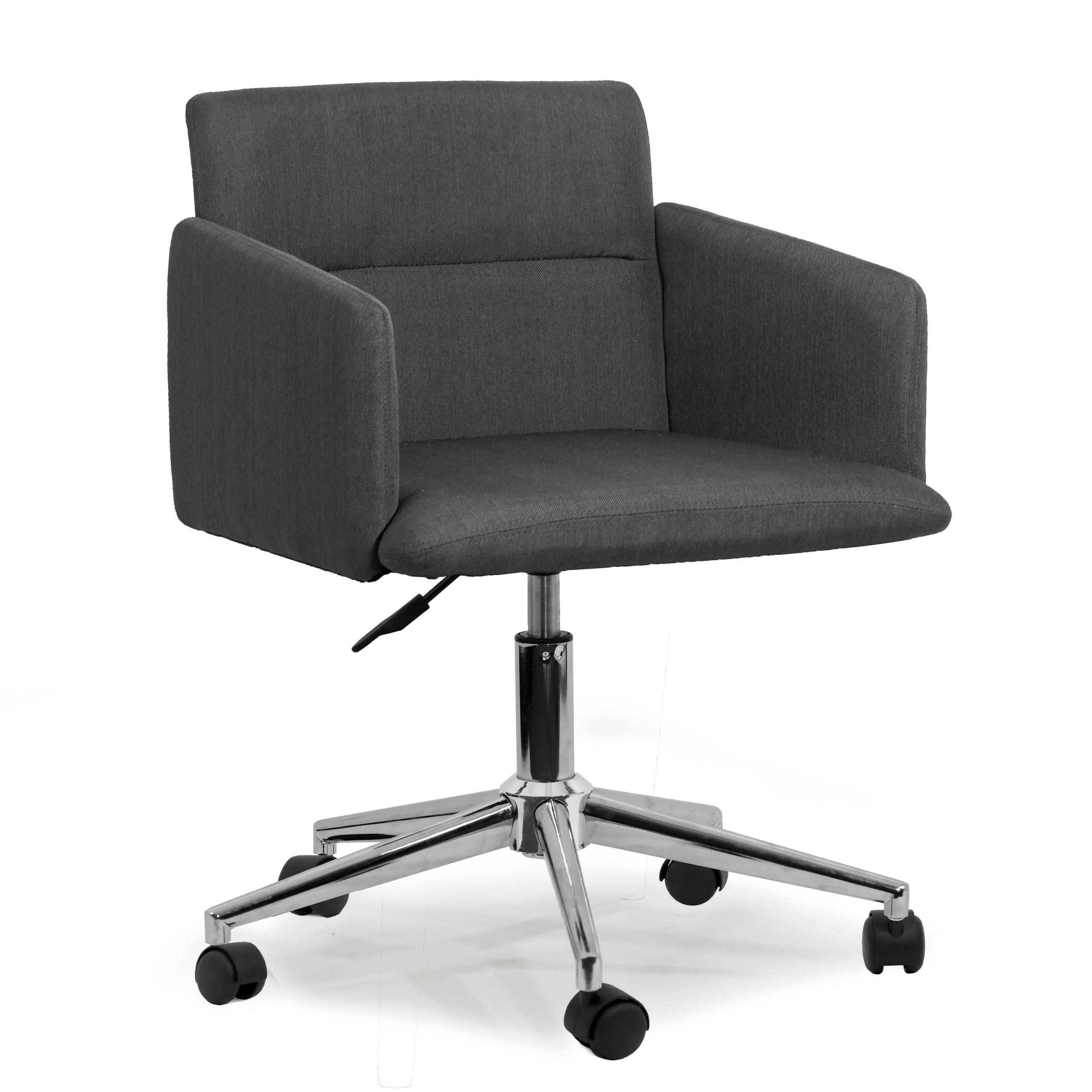 Chair With Wheels >> Aila Dark Grey Fabric Swivel Office Chair With Wheel Base