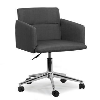 Aila Dark Grey Fabric Swivel Office Chair With Wheel Base