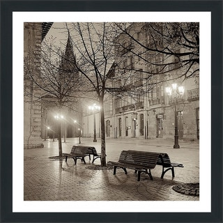 "Alan Blaustein ""Oviedo Cathedral y Bancs #2"" Framed Plexiglass Wall Décor"