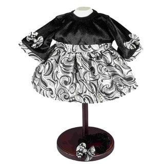 The Queen's Treasures Black Velvet and Silver 15-inch Bitty Baby Doll Clothes Dress