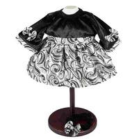 The Queen's Treasures 15-inch Black Velvet & Silver Baby Doll Clothes Dress Fits Bitty Baby