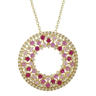 Luxiro Gold Finish Sterling Silver Lab-created Ruby and Cubic Zirconia Circle Pendant Necklace