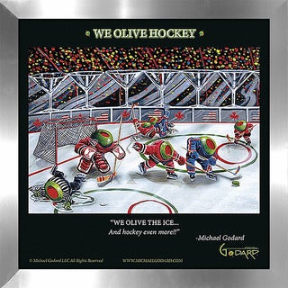 "Michael Godard ""We Olive Hockey"" Fine Framed & Canvassed Wall Art"