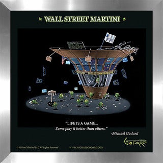 "Michael Godard ""Wall Street Martini"" Fine Framed & Canvassed Wall Art"