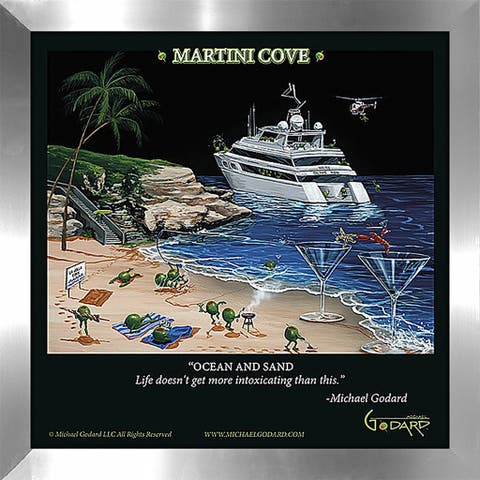 "Michael Godard ""Martini Cove"" Fine Framed & Canvassed Wall Art"