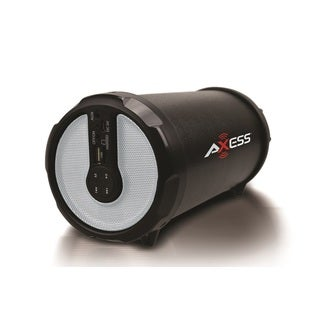 Axess Green Portable Bluetooth Indoor/Outdoor Hi-Fi Cylinder Loud Speaker with SD Card, USB, AUX Input and FM Radio