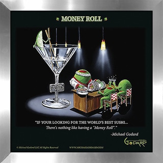 "Michael Godard ""Money Roll"" Fine Framed & Canvassed Wall Art"