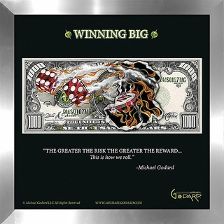"Michael Godard ""1000 Bill Winning Big"" Fine Framed & Canvassed Wall Art"
