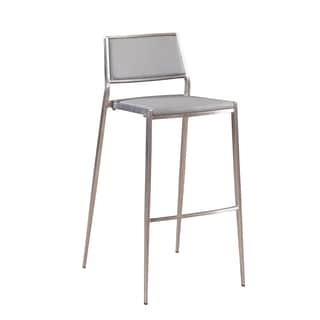 Gravani Grey Faux Leather and Stainless Steel Barstools (Pack of 4)