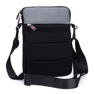 Kroo Grey/Purple Neoprene 11-Inch Notebook or Tablet Sleeve with Shoulder Strap and Front Zipper Pocket