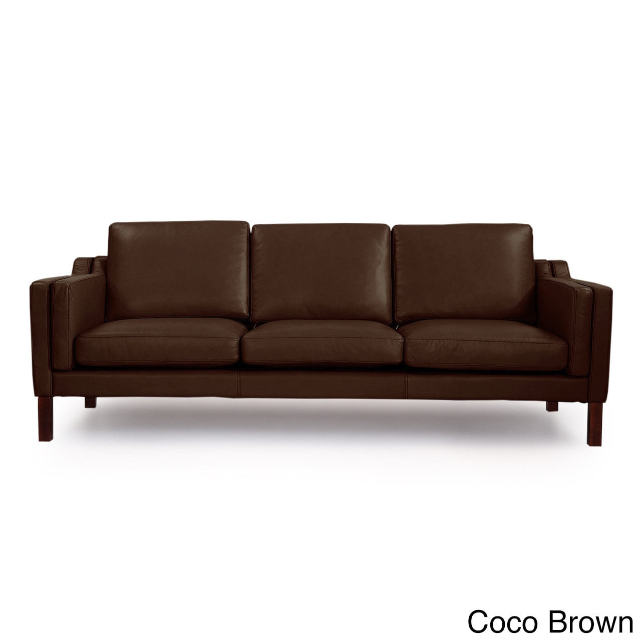 Kardiel Monroe Mid Century Modern Leather 3 Seat Sofa