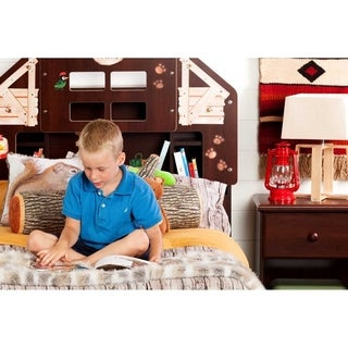 South Shore Summer Breeze Twin Summer Camp Themed Bookcase Headboard