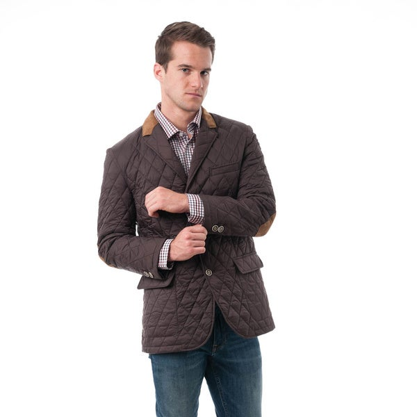 Men's Brown Quilted Notched Lapel Sports Coat - Free Shipping ... : mens quilted sport coat - Adamdwight.com