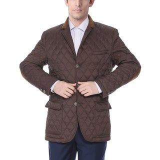 Men's Brown Quilted Notched Lapel Sports Coat