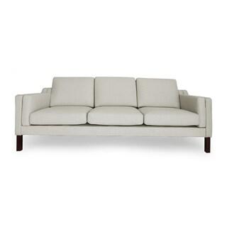 Kardiel Monroe Mid-Century Modern Heather White 3-Seat Sofa