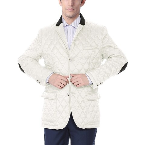 Men's White Nylon Quilted Notched-lapel Sports Coat