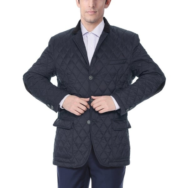 Verno Fashion Men's Navy Nylon Quilted Notched Lapel Sports Coat
