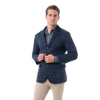 Verno Fashion Men's Navy Nylon Quilted Notched Lapel Sports Coat (More options available)